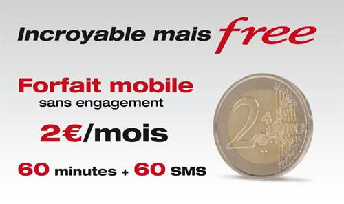 free abonnement mobile 2 euros