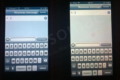 L'iPhone 5 (à droite) a un écran nettement plus jaune que son prédécesseur (à gauche)
