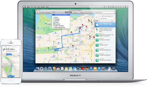 Maps intégré sur Mac permet une meilleure interaction avec l'iPhone